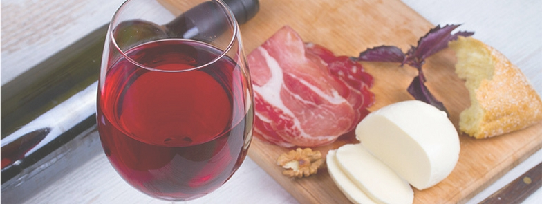 wine and bacon